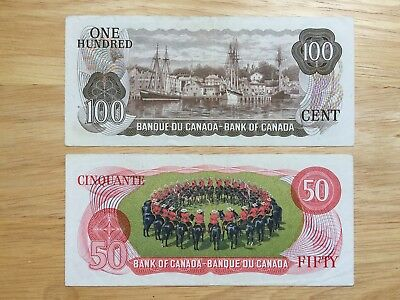 2 RARE 1975 Canadian Bank notes Crow/Bouey USED Look at all Pictures R4