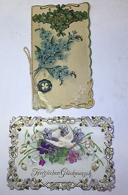 VINTAGE DIE CUT VICTORIAN GREETING CARDS, lot of 2 foreign language Germany