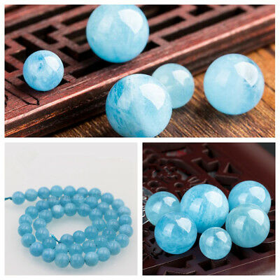 6mm 8mm 10mm 12mm Natural Blue Larimar Round Loose Beads 15.5""