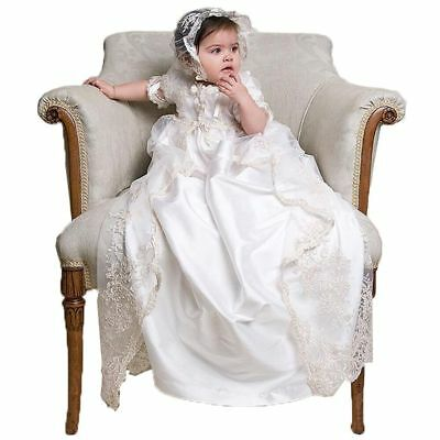 Soft Baptism Dresses Christening Baby Gown Long Appliques Top Lace Newborn White