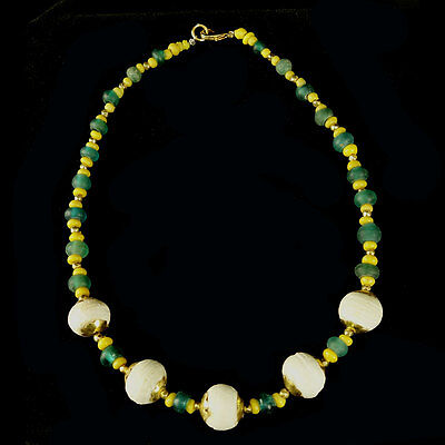 Pyu glass bead necklace with modern gold beads x9935