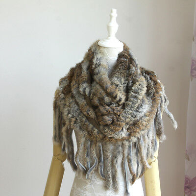 Fashion New Womens winter Real natural Rabbit Fur Scarf Muffler Accessories