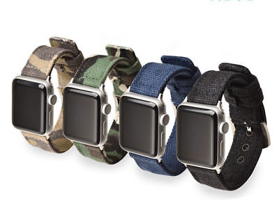 Sports Military Nylon Canvas Fabric Wristwatch Band Strap Belt for Apple Watch