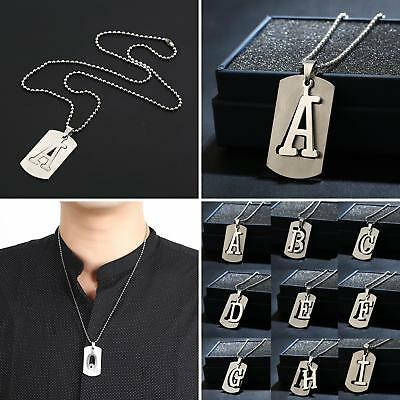 Mens Womens 26 Alphabet Letters Military Army Dog Tag Pendant Choker Necklace  A