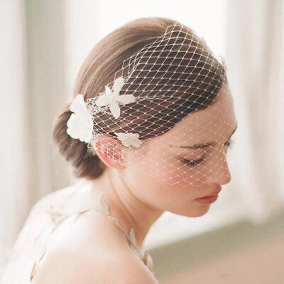 BIRDCAGE VEIL Flower Races Bridal Hair ACCESSORY Wedding Clip Fascinator Racing