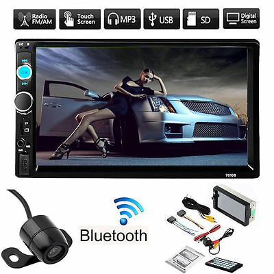 "7"" Double 2DIN Car MP5/3 Player Bluetooth Touch Screen Stereo Radio HD & Camera"