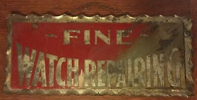 Fine Watch Repairing, Reverse Painted Scalloped Glass Sign Antique Vintage, 1912