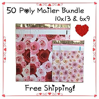 """50 Pack - 10x13/6x9"""" Mix Roses Designer Poly Mailers! Free Shipping!**"""
