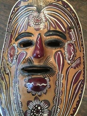 "Vintage Clay Mask Brown Leaf Design 8 1/2"" Southwest Mexico Green Man"