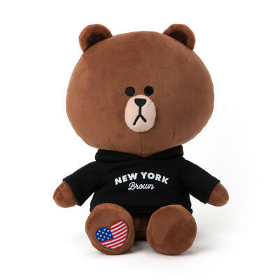 """LINE FRIENDS Character Plush Doll Toy NEW YORK BROWN 28cm 11"""" Official Goods"""