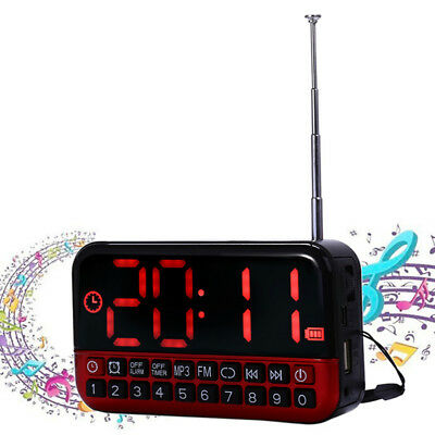 Portable Digital LCD Display USB MP3 Player Speaker Alarm Clock Timer FM Radio