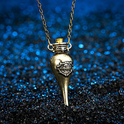 Felix Felicis Pendant Antique Bronze Coloured Liquid Luck Potion Bottle Necklace