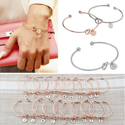 Hot Women Girls Initial Knot Simple Bracelet Gold Silver Opening Bangle Jewelry