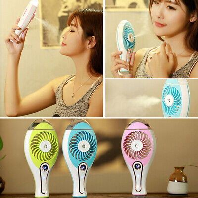 2in1 Mini Air Humidifier Portable Rechargeable USB Hand Fan Creative Cooling Fan