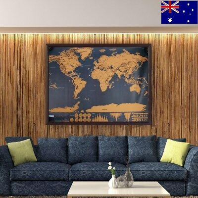 Deluxe Large Scratch Off World Map Travel Tracker World Map Poster Big Australia