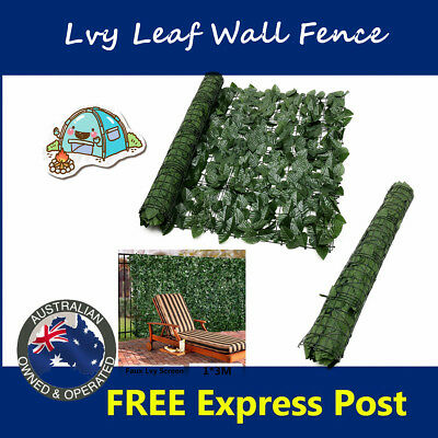 1*3M Expanding Artificial Fake Lvy Leaf Wall Fence Green Garden Screen Hedge AU