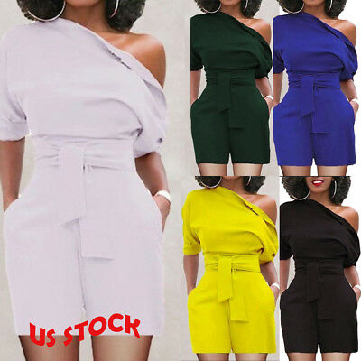 New Women Clubwear Summer Playsuit Bodycon Party Jumpsuit Romper Shorts US