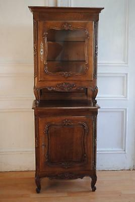 ANTIQUE VINTAGE FRENCH Louis XV Style Bonnetiere Vitrine Oak Display ...