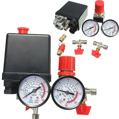 180PSI Air Compressor Pressure T Valve Switch Manifold Relief Regulator Gauges