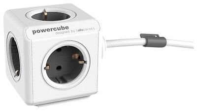 Mehrfachsteckdose allocacoc PowerCube Extended inkl. 1,5 m Kabel grau Type F