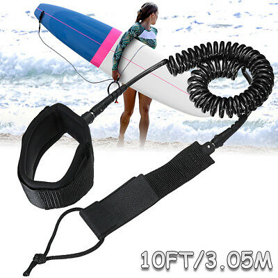 10ft Coiled Surfboard Leash TPU Stand UP Paddle Board Surfing Safety Foot Rope