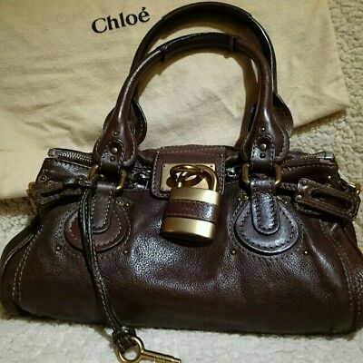 804c7f3c367 USED Popular Chloe Paddington Handbag Calf Leather Brown free shipping Japan