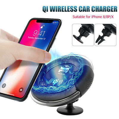 Qi Car Wireless Charger Air Vent Magnetic Stand Mount Holder Samsung S8 iPhone X
