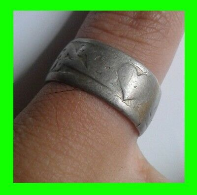 GENUINE,detector find, 13th-15th MEDIEVAL SILVER WEDDING RING WITH HEART DECOR