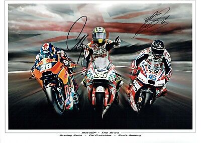 Cal CRUTCHLOW & Scott REDDING SIGNED Autograph 16x12 Photo Montage AFTAL COA