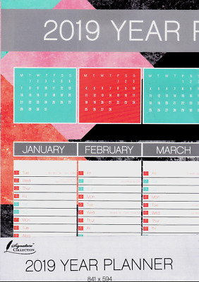 2019 Year Wall Planner A1 - Ideal For Home, Office Or School - WH3 -TBL972 - NEW