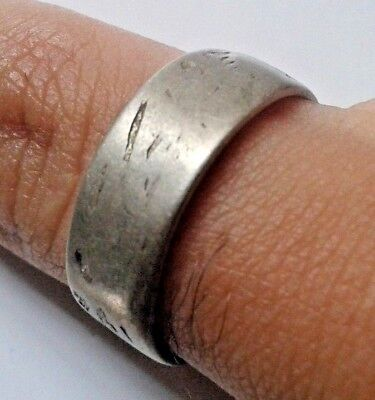 antique ancient authentic hand made Viking silver wedding ring  Great piece.