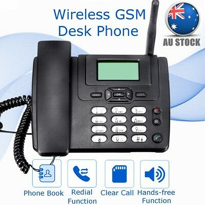 Wireless GSM Desk Phone SIM Card Mobile Phone Book Home Office Desktop Telephone