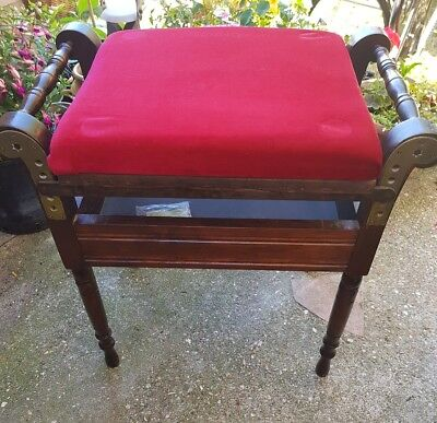 Antique Victorian mahogany adjustable piano stool, 5 different heights.