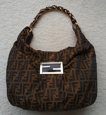 Fendi Mia Borsa hobo bag purse patent leather-wrapped gold-tone chain Zucca  FF 2cc5beef292