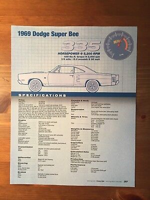 1969 Dodge Super Bee Specification Sheet Magazine Ad