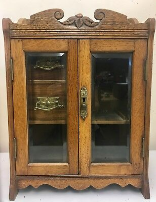 Antique Vintage Wooden Wall Mounted Display Cabinet