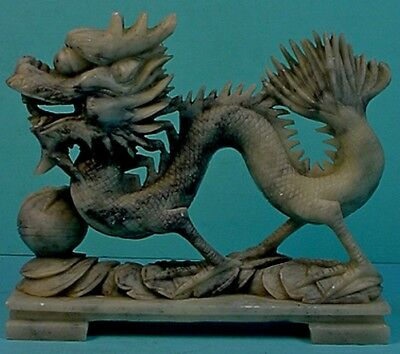 VINTAGE CHINESE HAND CARVED SOAPSTONE 'DRAGON with PEARL OF WISDOM' SCULPTURE