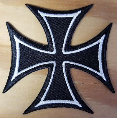 IRON CROSS / MALTESE CROSS embroidered Patch - Iron On - FREE SHIPPING!