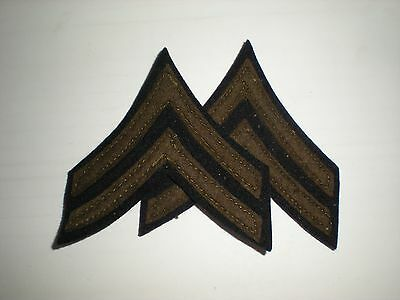 Us Army Wwii Corporal Stripes Rank - Original Wool On Wool -- 1 Pair