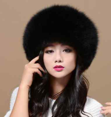 100% Real Black Fox Fur Hat Russian Winter Warmer Ear Cap Ushanka Cossack Ski