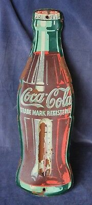 "Vintage 17"" Coca-Cola Bottle Thermometer Tin Sign - 1950s"