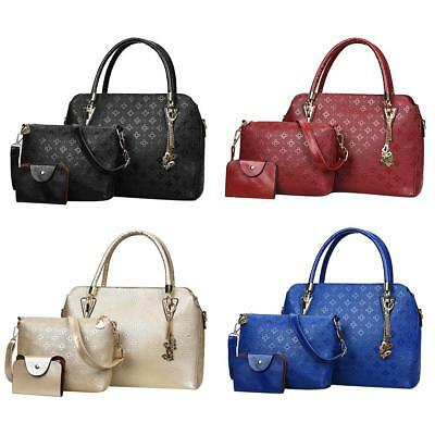 9fde9c9f6f 3pcs Women s Handbags PU Leather Crossbody Ladies Shoulder Bag Card Totes  Purse