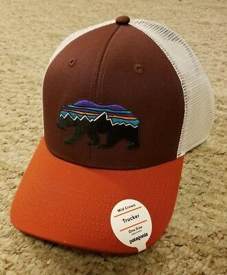 228ffed9d5a NWT Patagonia Fitz Roy Bear Trucker Hat Cap Mid Crown Color Red Maroon New