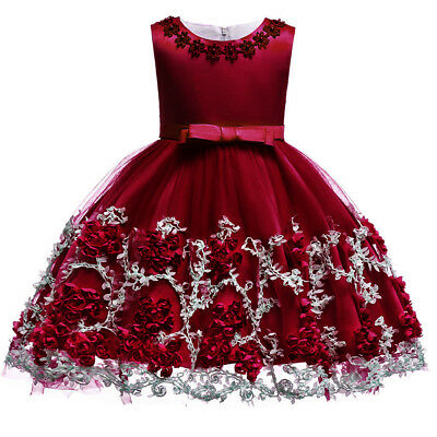 Flower Girl Dress for Baby Kid Baptism Christening Wedding Birthday Party Gown