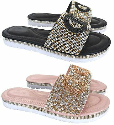 Ladies Womens Flat Low Heel Diamante Summer Comfy Slip On Sandals Shoes Size 3-8