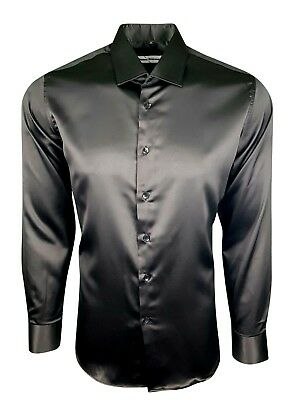 Mens Satin Shirt Wedding Dress Formal Smart Silk Feel Long Sleeves £17.99(422)