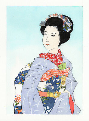 5x7 inch watercolor painting Geisha traditional Japanese asian art home decor #2