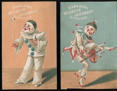 """Lot 50: 1890's Tabler's Buckeye Ointment """"Clowns"""" group of 2 Trade Cards"""