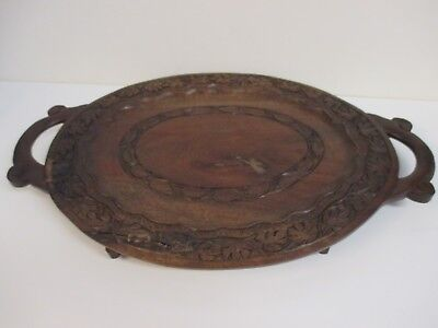 """18"""" Vintage Decorative Hand Carved Wooden Tray with Handles and Feet"""