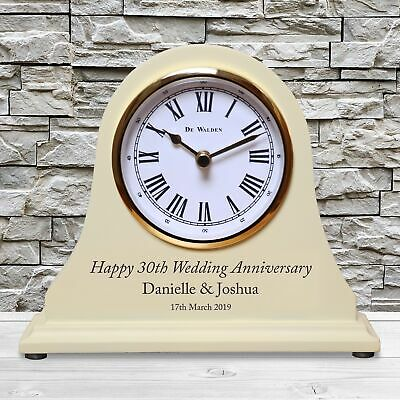 Personalized 30th Pearl Wedding Anniversary Mantel Clock 30 Years Gift Idea